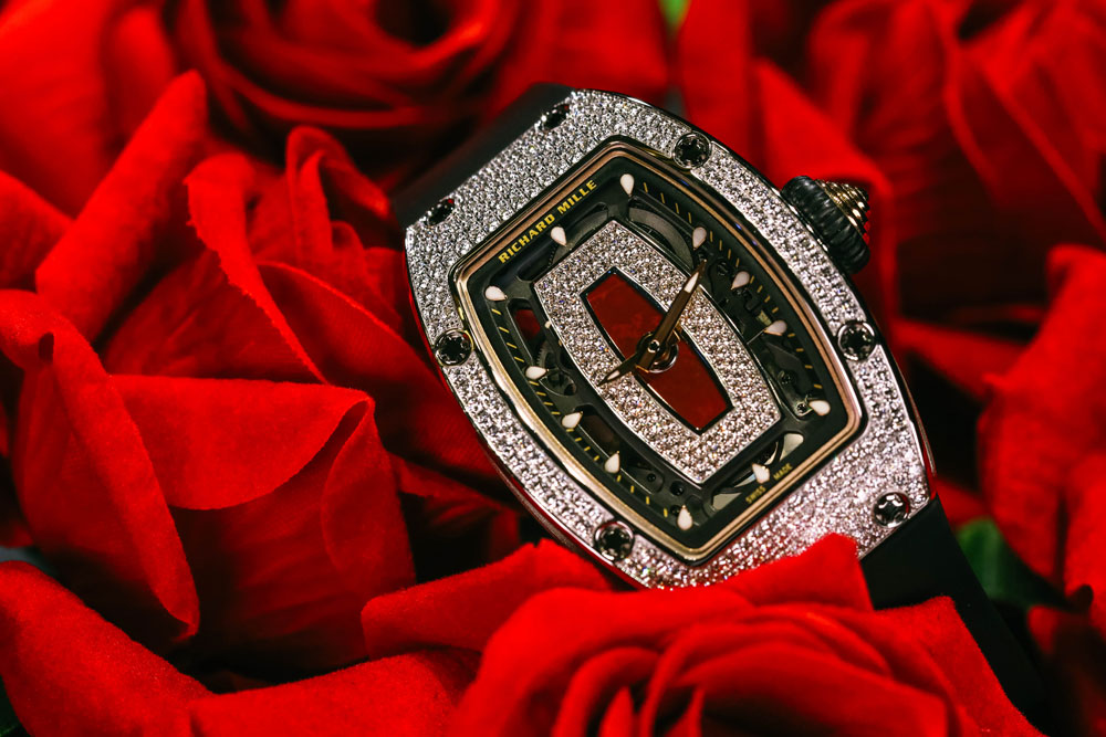 RICHARD MILLE RM07-01 White Gold Full Diamonds Red Jasper Dial